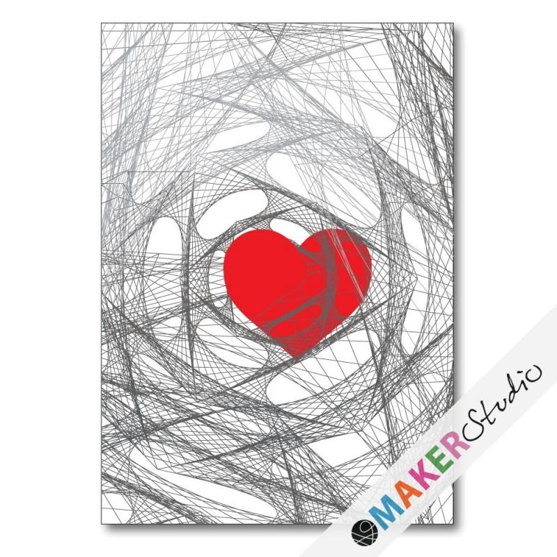 Foldet kort HEART rød