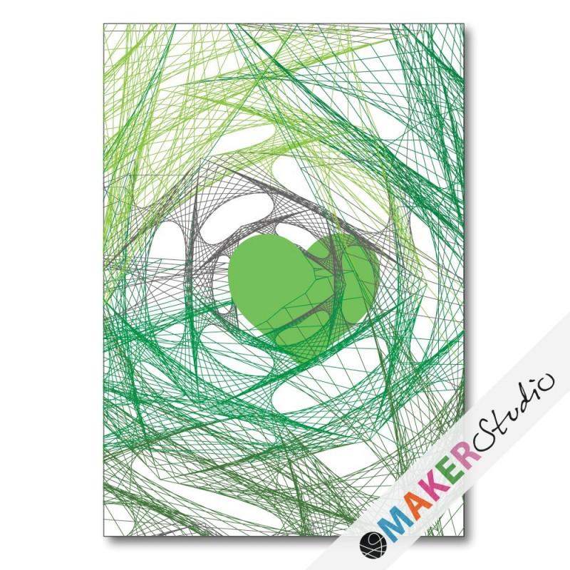 Foldet kort HEART grøn