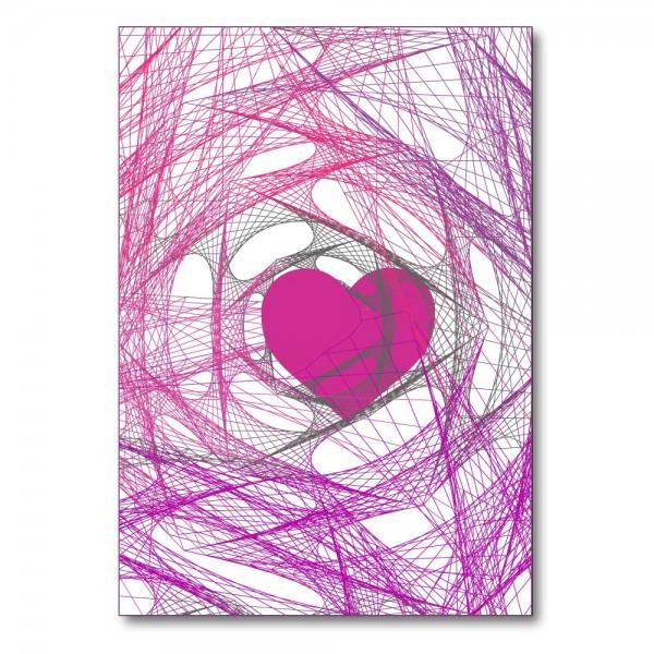 Foldet kort HEART lyserød
