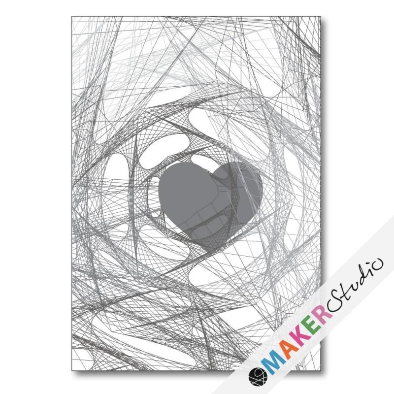 Folded card HEART gray