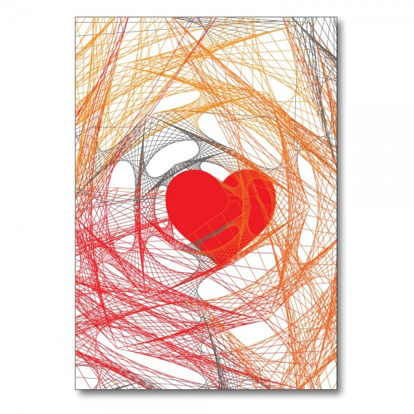 Folded card HEART orange