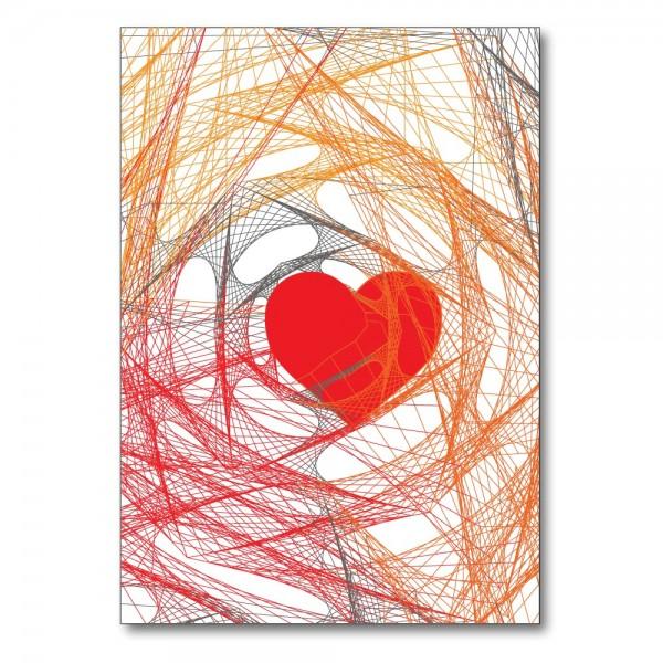 Foldet kort HEART orange