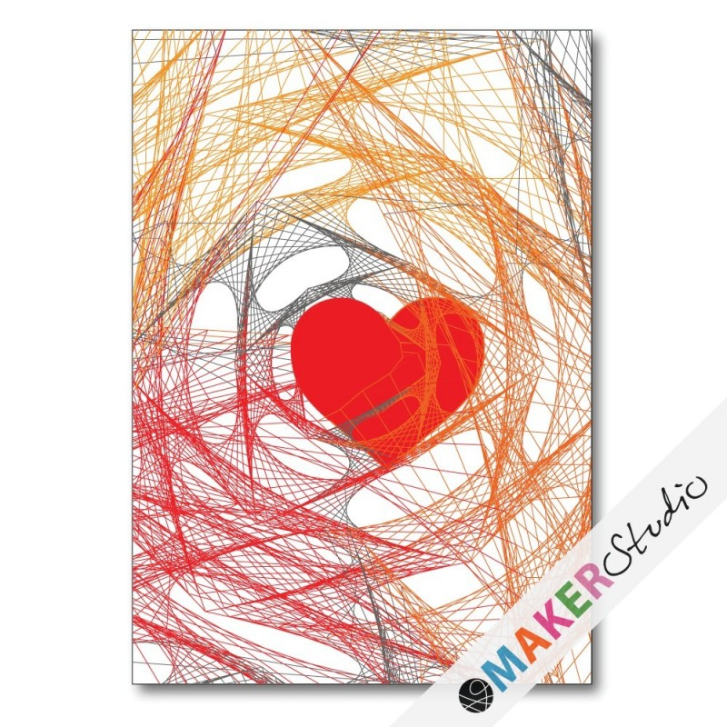 Foldet kort HEART orange